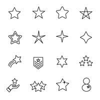 Icona stella set vettoriale. Concetto di segno e simbolo. Tema icona linea sottile. Sfondo bianco isolato. Illustrazione vettoriale.