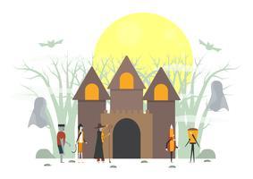 Scena spaventosa minimale per il giorno di Halloween, il 31 ottobre, con mostri che includono vetro, frankenstein, ombrello, strega, gatto. Illustrazione vettoriale isolato su sfondo bianco.