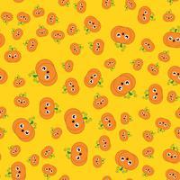 Zucca sveglia senza cuciture nel giorno di Halloween con fondo giallo. Concetto di vacanza e cultura. Tema della carta da parati vettore