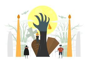 Scena spaventosa minimale per il giorno di Halloween, il 31 ottobre, con mostri che includono dracula, uomo delle zucche, frankenstein. Illustrazione vettoriale isolato su sfondo bianco.