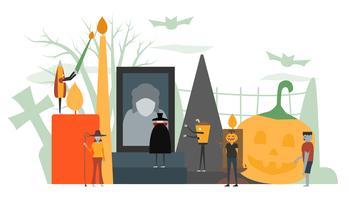 Scena minimale per il giorno di Halloween, il 31 ottobre, con mostri che includono dracula, bicchiere, uomo di zucca, frankenstein, ombrello, strega. Illustrazione vettoriale isolato su sfondo bianco.