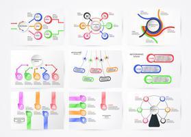 Insieme dell'elemento di infographics con il concetto di tecnologia. Grafico colorato per presentazione aziendale con spazio di copia.