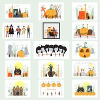 Scena minima per il giorno di Halloween, il 31 ottobre, con mostri che includono dracula, bicchiere, uomo di zucca, frankenstein, ombrello, gatto, burlone, strega. Illustrazione vettoriale isolato su sfondo bianco.