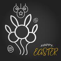 Modello di Pasqua felice con forma di coniglio palloncino e uova su sfondo scuro. Illustrazione vettoriale Layout di design per biglietto d'invito, biglietto di auguri, poster banner e buono regalo. Lavagna nera