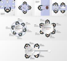 Insieme di elementi di infografica con squadra di uomini d'affari. Modello per presentazione aziendale e grafica animata con spazio per copiare testo in stile piatto e carta tagliata.