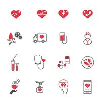 Icone di cura medica del cuore. Concetto di assistenza sanitaria e tecnologia. Concetto di donazione di emergenza e di sangue. Insieme di raccolta di illustrazione vettoriale. Tema di segno e simbolo. vettore