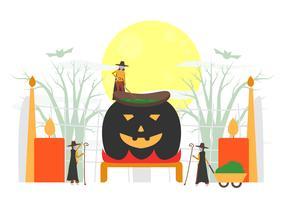 Scena minimale per il giorno di Halloween, il 31 ottobre, con mostri che includono streghe. Illustrazione vettoriale isolato su sfondo bianco.