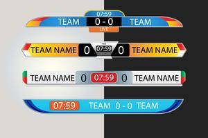 Tabellone segnapunti in diretta Modello grafico di schermo digitale per la trasmissione di calcio, calcio o futsal, modello di disegno vettoriale illustrazione per la partita della lega di calcio. Progettazione di file vettoriali EPS10