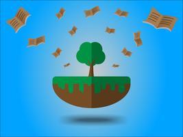 Libri che volano dal grande albero. Concetto di risparmio energetico per la giornata della terra