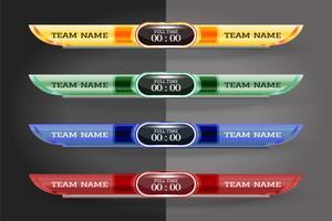 Modello grafico dello schermo digitale del tabellone segnapunti per la radiodiffusione di calcio, di calcio o del futsal, modello di progettazione di vettore dell'illustrazione per la partita della lega di calcio. Progettazione di file vettoriali EPS1