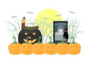 Scena spaventosa minimale per il giorno di Halloween, il 31 ottobre, con mostri che includono dracula, strega. Illustrazione vettoriale isolato su sfondo bianco.