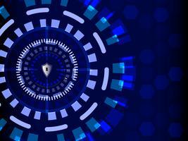 Blue Cyber Security con scudo, tecnologia e concetto di informazione