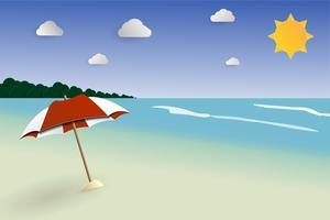 Vettore del paesaggio del papercut della spiaggia, vista sul mare per estate, vacanze estive