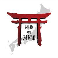 Prega per il Giappone. Concetto di sfondo astratto. Colonna del tempio rosso Isolato sfondo bianco con mappa giapponese. vettore