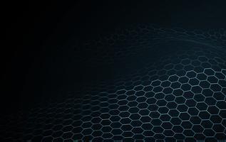 Tecnologia di blockchain di superficie dell'onda blu e fondo astratto di scienza. Equalizzatore di musica del modello di struttura di illuminazione del telaio del cavo della rete di esagono. Carta da parati digitale di concetto della nuova particella