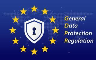 Regolamento generale sulla protezione dei dati denominato GDPR 2018/2019 concept. Bandiera dell'UE Trasformazione digitale e tema di sicurezza. Illustrazione vettoriale