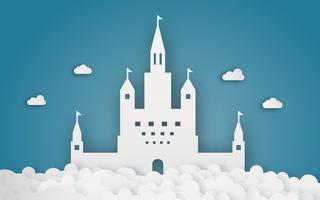 Castello del cielo su cloud papercraft. Sfondo a tema astratto e fantasia. Concetto di artigianato digitale e origami. vettore
