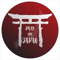 Prega per il Giappone. Concetto di sfondo astratto. Punto rosso isolato sfondo bianco con mappa giapponese. vettore