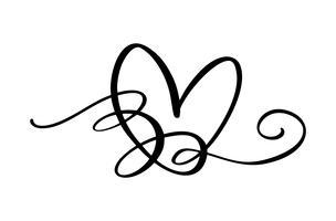 Segno di amore cuore disegnato a mano. Vettore di calligrafia romantica del giorno di San Valentino. Simbolo dell'icona di Concepn per t-shirt, cartolina d'auguri, matrimonio poster. Design illustrazione piatta elemento