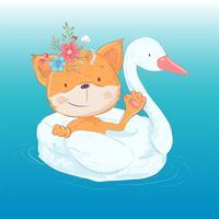 Illustrazione di un biglietto di auguri o una principessa per la stanza di un bambino - una volpe carina su un cerchio gonfiabile sotto forma di un cigno, illustrazione vettoriale in stile cartoon