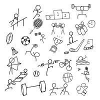 Insieme dell'icona di sport Doodle arte. Icona della linea sottile per il gioco del mare e il gioco olimpico. Arte grafica disegnata a mano. Esercizio e concetto di concorrenza. vettore