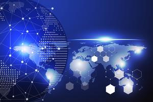 Fondo astratto blu del cerchio e di informatica di tecnologia con il punto blu e bianco della linea. Concetto di business e connessione. Futuristico e concetto di industria 4.0. Internet cyber e tema di rete. vettore