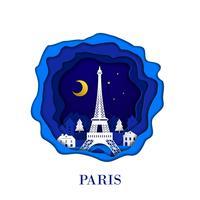 La città francese di Parigi nell'arte della carta del mestiere digitale. Scena notturna Concetto di punto di riferimento di viaggio e destinazione. Stile Papercraft vettore