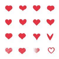 Set di icone cuore rosso. Amore e concetto romantico. Concetto di coppie e amanti. Tema di San Valentino.