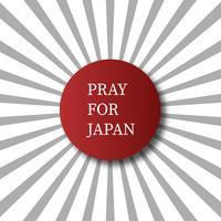Prega per il Giappone. Concetto di sfondo astratto. Punto rosso isolato con il fondo grigio bianco di scoppio del sole. Per la pubblicità che fa donazioni di terremoto e tsunami nella città di Hokkaido Kumamoto in Giappone vettore