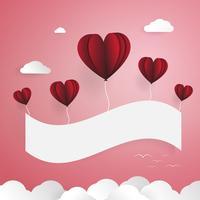 Palloncini rossi con banner di carta bianca. Elementi di nuvole e uccelli. Amore e concetto di giorno di San Valentino. Tema di carta e carta tagliate.