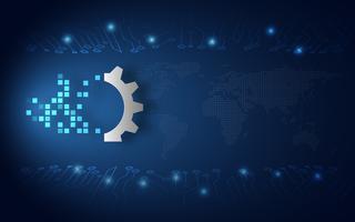 Fondo blu futuristico di tecnologia dell'estratto di trasformazione digitale. Intelligenza artificiale e grandi dati. Cambiamento della crescita aziendale e Internet 4.0 del concetto di cose. Illustrazione vettoriale
