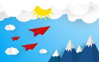 Aereo di origami su cielo blu con nuvole e sole. Concetto di estate e natura. Concetto di business e di successo. Tema di arte di carta e stile artigianale digitale