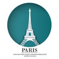 La città francese di Parigi nell'arte della carta del mestiere digitale. Scena notturna Concetto di punto di riferimento di viaggio e destinazione. Stile banner Papercraft vettore