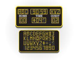 Tabellone segnapunti digitale per informazioni sportive. Illustrazione vettoriale. Quadro di valutazione del calcio o del calcio. Grande cartellone digitale del concetto di stadio.