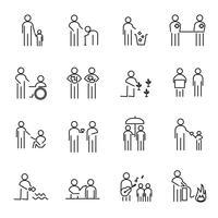 Vettore stabilito dell'icona della linea sottile della gente di responsabilità sociale corporativa. Progetto di beneficenza CSR per aiutare il mondo e un concetto di persone. Tema di segno e simbolo. Sfondo bianco isolato. Illustrazione vettoriale.