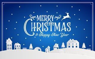 Buon Natale e felice anno nuovo 2019 di città natale nevoso con messaggio di carattere tipografia. Arte di carta di colore blu e artigianato digitale Illustrazione vettoriale celebrare carta da parati invito carta. Vacanze invernali