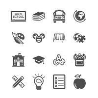 Icone di educazione. Ritorno a scuola e apprendimento del concetto di bambini. Glifi e contorno icone tema di corse. Tema di segno e simbolo. Insieme di raccolta di design grafico illustrazione vettoriale.