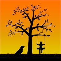 Silhouette ragazzo sull'altalena con il suo cane vettore