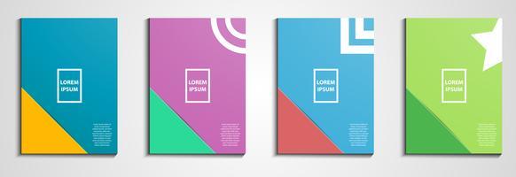 La relazione annuale copre la progettazione. Copertina del notebook Design geometrico minimale. Eps10 illustrazione vettoriale. Tono di colore pastello. Concetto di business e audit.