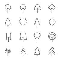 Vettore stabilito dell'icona dell'albero e della pianta. Segno e concetto di simbolo. Concetto di natura e ambiente. Tema icona linea sottile. Sfondo bianco isolato. Illustrazione vettoriale.