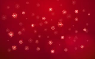 Fiocco di neve bianco astratto che cade dal cielo su sfondo rosso. Buon Natale e felice anno nuovo concetto. Bello tema di Xmas decorazione carta glitter elemento. Festa mondiale e tema stagionale. vettore