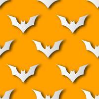 Fondo senza cuciture del modello di arte della carta del pipistrello di Halloween. Colore arancione per felice giorno della festa di Halloween carta e concetto di avvolgimento regalo. Carino design grafico