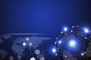 Priorità bassa astratta di tecnologia blu con il punto di linea bianca. Concetto di business e connessione. Internet cyber e tema di rete. Carta da parati intelligente per industria e informatica. Futuristico e Industria 4.0