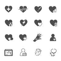 Insieme di vettore dell'icona di cuore e assistenza sanitaria. Concetto medico e di salvataggio