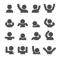 Icone di persone. Concetto di umore e gesto. Glifi e contorno icone tema di corse. Insieme di raccolta di design grafico illustrazione vettoriale