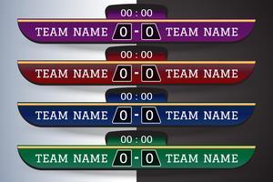 Tabellone segnapunti di calcio Modello grafico a schermo digitale per la trasmissione di calcio, calcio o calcetto. modello di disegno vettoriale illustrazione per la partita della lega di calcio. Progettazione di file vettoriali EPS10