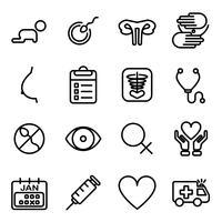 Infertilità delle icone di donna. Concetto medico e sanitario. Icona di linea sottile e tema tratto tratto. Tema del pittogramma. vettore