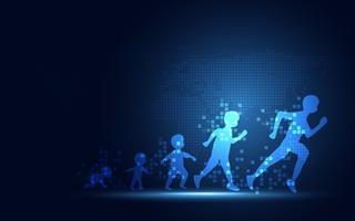 Evoluzione futuristica della priorità bassa di tecnologia dell'estratto di trasformazione digitale della gente. Intelligenza artificiale e concetto di big data. Computer e investimenti per la crescita aziendale. vettore