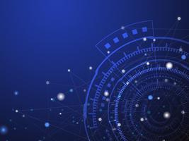 Fondo astratto blu del cerchio e di informatica di tecnologia con il punto blu e bianco della linea. Concetto di business e connessione. Futuristico e concetto di industria 4.0. Internet cyber e tema di rete.