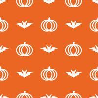 Zucca sveglia senza cuciture nel giorno di Halloween su fondo arancio isolato. Concetto di vacanza e cultura. Tema di icone di sfondo e linea.